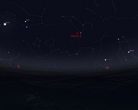 "Looking Southwest on March 20, 2014 at about 2:00 am EDT. Regulus is the bright star below the ""sickle of Leo"". Chart generated by Stellarium. Click on image for larger view."