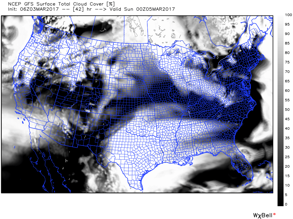 A Look At The Forecast Cloud Coverage Just Before And After The Graze